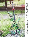 garden decoration metal violin... | Shutterstock . vector #1016447548