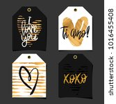 set of 4 romantic labels.... | Shutterstock .eps vector #1016455408