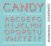candy cane font. bright twisted ... | Shutterstock .eps vector #1016456452