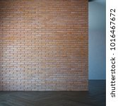 empty room with brick wall  3d... | Shutterstock . vector #1016467672