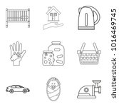 matrimony icons set. outline... | Shutterstock .eps vector #1016469745