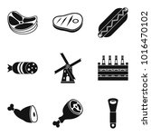 meat a delicacy icons set.... | Shutterstock .eps vector #1016470102