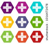 crossing road icon set many... | Shutterstock .eps vector #1016472478