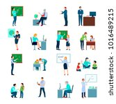 school teacher colored icons... | Shutterstock . vector #1016489215