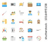 flat icon set of hotels and... | Shutterstock .eps vector #1016495158