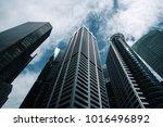 bottom view to modern... | Shutterstock . vector #1016496892