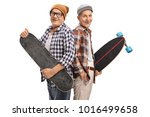 elderly hipsters with a... | Shutterstock . vector #1016499658