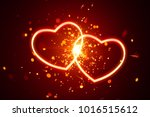 heart lights with sparks... | Shutterstock . vector #1016515612