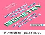 isometric alphabet. 3d letters... | Shutterstock .eps vector #1016548792