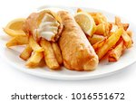 fish and chips closeup on white ... | Shutterstock . vector #1016551672