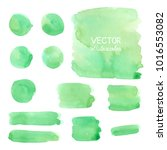 set of green watercolor brush... | Shutterstock .eps vector #1016553082