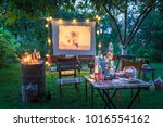 open air cinema with drinks and ... | Shutterstock . vector #1016554162