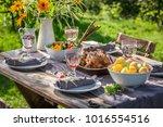 homemade dinner with chicken... | Shutterstock . vector #1016554516