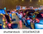 Night View Busy Uk Motorway...