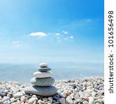 Stack Of Zen Stones Over Sea...