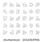 collection of line gray icons... | Shutterstock .eps vector #1016565946