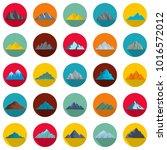 mountain icons set. flat... | Shutterstock .eps vector #1016572012