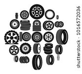 tire icons set. simple... | Shutterstock .eps vector #1016572036