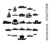 boat cruise ship steamer icons... | Shutterstock .eps vector #1016572348