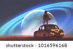 night scenery of the man...   Shutterstock . vector #1016596168