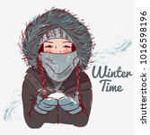 cute winter girl with scarf and ... | Shutterstock .eps vector #1016598196