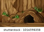 background scene with cave in... | Shutterstock .eps vector #1016598358