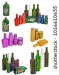 many different bottles  painted ... | Shutterstock . vector #1016610655