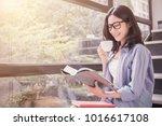 portrait of attractive asian... | Shutterstock . vector #1016617108