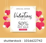 valentines day sale background... | Shutterstock .eps vector #1016622742
