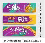 set of three different sale... | Shutterstock .eps vector #1016623636