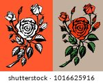 red roses illustration. | Shutterstock . vector #1016625916