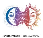 moon crescent turning into... | Shutterstock .eps vector #1016626042