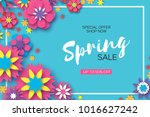 sale. origami spring colorful... | Shutterstock .eps vector #1016627242