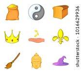 knightly icons set. cartoon set ... | Shutterstock .eps vector #1016629936