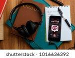 listening to english speech.... | Shutterstock . vector #1016636392