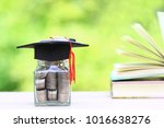 graduation hat on the glass... | Shutterstock . vector #1016638276