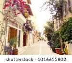 traditional street and houses... | Shutterstock . vector #1016655802