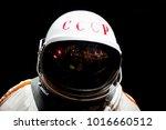 soviet cosmonaut in shadow ... | Shutterstock . vector #1016660512