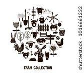 set of hand drawn farm elements ... | Shutterstock .eps vector #1016661232