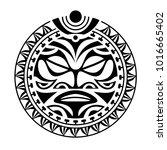 face  sun maori style tattoo ... | Shutterstock .eps vector #1016665402