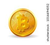 golden bitcoin coin. crypto... | Shutterstock .eps vector #1016694052
