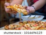closeup of woman hand picking...   Shutterstock . vector #1016696125