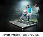 caucassian soccer players in... | Shutterstock . vector #1016709238