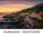 yonggungsa temple on the beach...   Shutterstock . vector #1016710108
