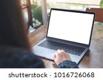 mockup image of a hand using... | Shutterstock . vector #1016726068