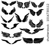 hand drawn wing set.sticker... | Shutterstock .eps vector #1016730112