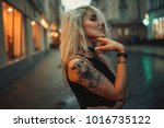 young woman portrait with... | Shutterstock . vector #1016735122