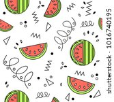 summer playful fresh watermelon ... | Shutterstock .eps vector #1016740195