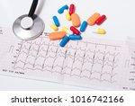 medical pills  stethoscope and...   Shutterstock . vector #1016742166