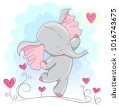 cute baby elephant  with hearts.... | Shutterstock .eps vector #1016743675